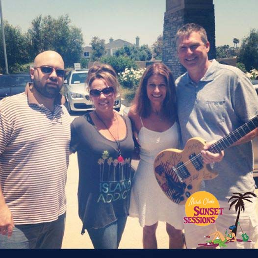 Falling Doves donated guitar to help Carlsbad Fire Victims - raises $1300 Dollars at at Sunset Sessions 2014