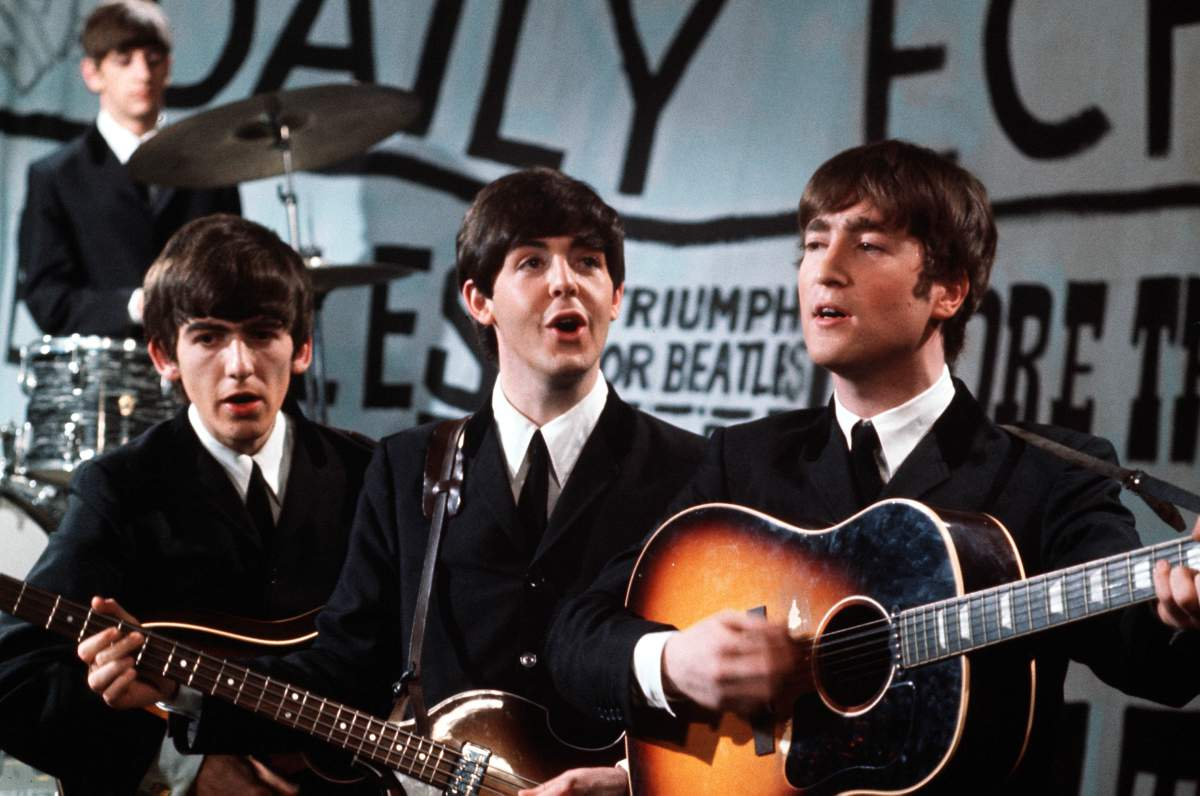 Volume 2 Page 85 Picture 1 1963 The Phenomenon That Was Beatles Left To Right Ringo Starr On Drums George Harrison Guitar Paul McCartney